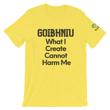 Load image into Gallery viewer, Goibhniu: What I Create - White, Silver & Yellow - Unisex Short Sleeve Jersey T-Shirt - Eel & Otter