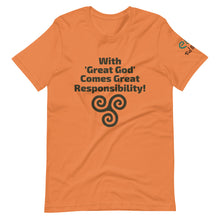 Load image into Gallery viewer, With Great God Comes Great Responsibility! - Short-Sleeve Unisex T-Shirt, Leaf, Silver, Burn Orange, - Eel & Otter