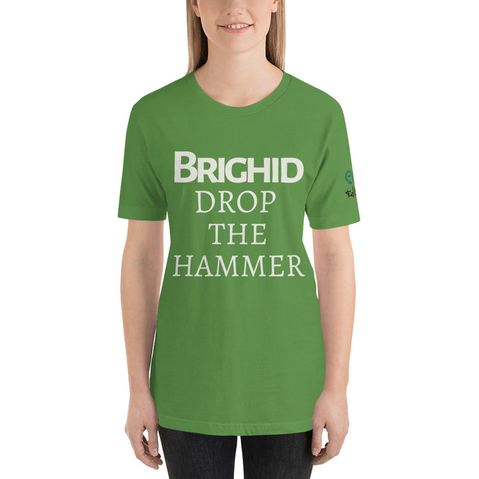 Brighid - Drop the Hammer - Aqua, Gold & Leaf Green - Unisex Short Sleeve Jersey T-Shirt - Eel & Otter