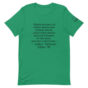 "Countess Markievicz- ""short skirts and strong boots""- October 1915 Short-Sleeve Unisex T-Shirt Kelly green, Pink, Silver - Eel & Otter"