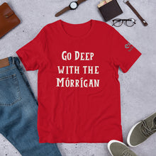 Load image into Gallery viewer, Go Deep with the Mórrígan - Black, Green & Red - Unisex Short Sleeve Jersey T-Shirt - Eel & Otter