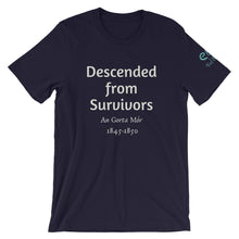 Load image into Gallery viewer, Descended from Survivors - Black, Navy & Forest Green - Unisex Short Sleeve Jersey T-Shirt - Eel & Otter