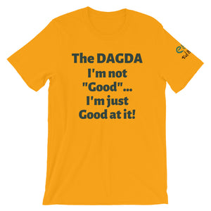 Dagda Good At It - White, Silver & Gold - Unisex Short Sleeve Jersey T-Shirt - Eel & Otter