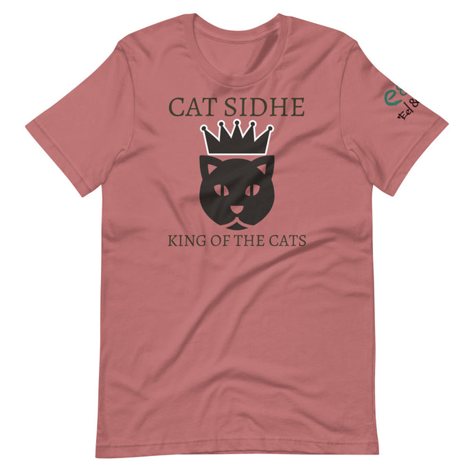 Cat Sidhe King of the Cats Short-Sleeve Unisex T-Shirt Mauve, Silver, Pink - Eel & Otter