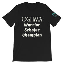 Load image into Gallery viewer, Oghma. Warrior, Scholar, Champion - Black, True Royal, Kelly, Short-Sleeve Unisex T-Shirt - Eel & Otter
