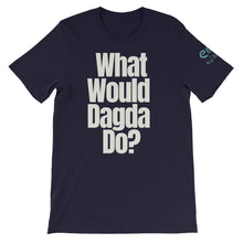 Load image into Gallery viewer, What Would Dagda Do? - Black, Navy & Forest Green - Unisex Short Sleeve Jersey T-Shirt - Eel & Otter