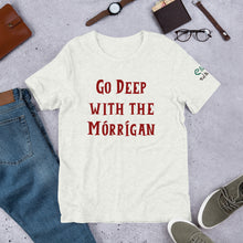 Load image into Gallery viewer, Go Deep with the Mórrígan - Ash, Silver & Cream - Unisex Short Sleeve Jersey T-Shirt - Eel & Otter