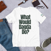 Load image into Gallery viewer, What Would Dagda Do? White, Ash & Cream - Unisex Short Sleeve Jersey T-Shirt - Eel & Otter