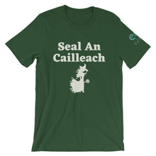 Load image into Gallery viewer, Seal an Cailleach - Black, Forest, Red -Short-Sleeve Unisex T-Shirt - Eel & Otter