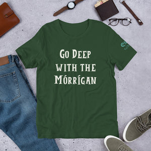 Go Deep with the Mórrígan - Black, Green & Red - Unisex Short Sleeve Jersey T-Shirt - Eel & Otter