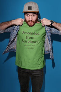 Descended from Survivors - Ash, Silver & Leaf Green - Unisex Short Sleeve Jersey T-Shirt - Eel & Otter