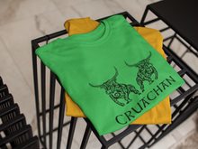 Load image into Gallery viewer, Bulls of Cruachan - Aqua, Gold & Leaf Green - Unisex Short Sleeve Jersey T-Shirt - Eel & Otter
