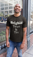 Load image into Gallery viewer, Brighid - Forged by Fire - Red, Asphalt & Brown - Unisex Short Sleeve Jersey T-Shirt - Eel & Otter