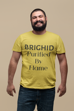Load image into Gallery viewer, Brighid - Purified by Flame - Yellow, Soft Cream & Ash - Unisex Short Sleeve Jersey T-Shirt - Eel & Otter
