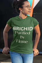 Load image into Gallery viewer, Brighid - Purified by Flame - Royal Blue, Asphalt & Forest Green - Unisex Short Sleeve Jersey T-Shirt - Eel & Otter