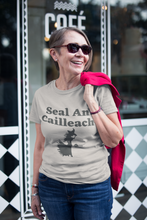 Load image into Gallery viewer, Seal an Cailleach - Leaf, Silver, Soft Cream - Short-Sleeve Unisex T-Shirt - Eel & Otter