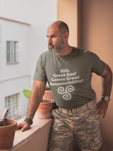 Load image into Gallery viewer, With 'Great God' Comes Great Responsibility! - Short-Sleeve Unisex T-Shirt - Black, Army, True Royal - Eel & Otter