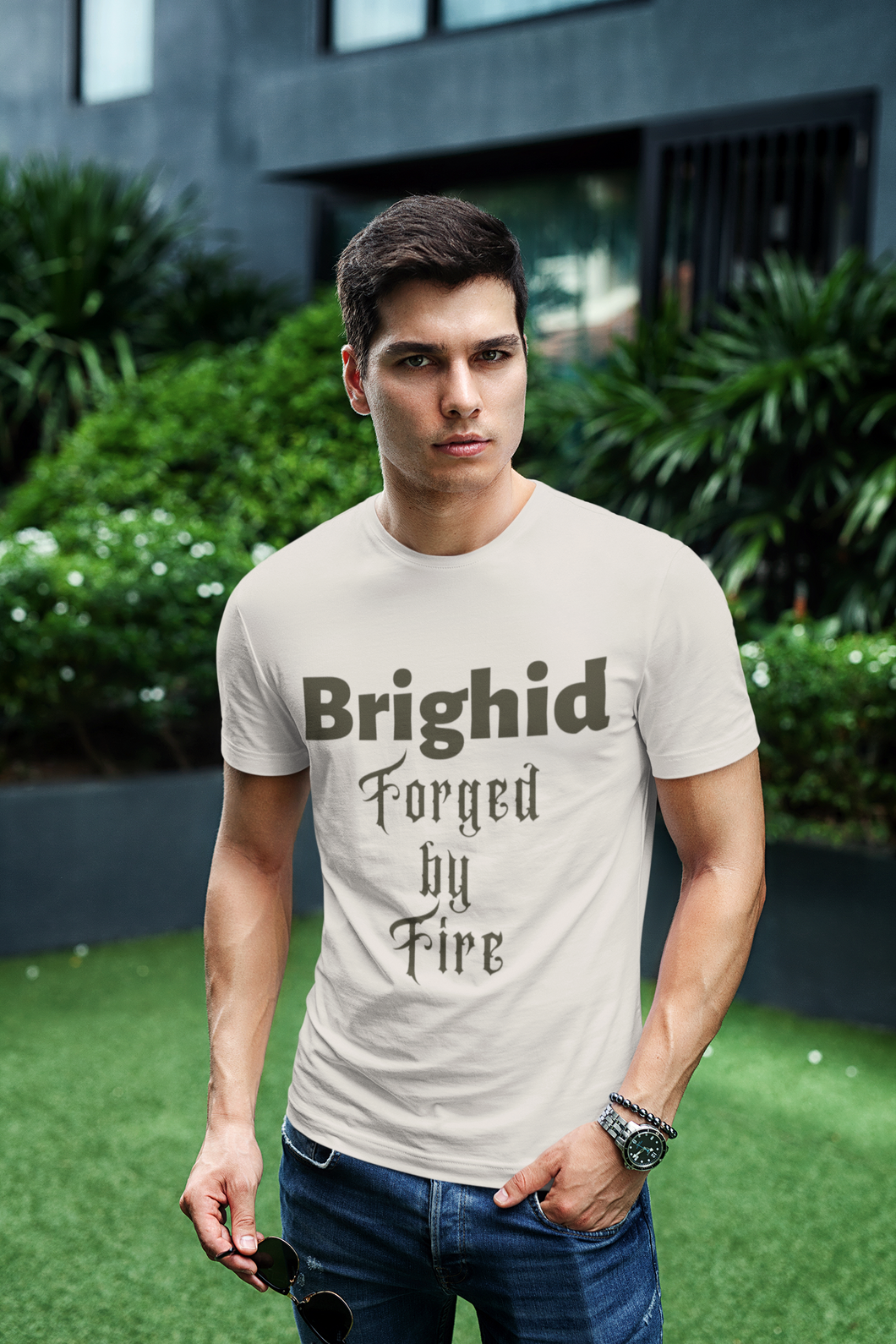 Brighid - Forged by Fire - Cream, Gold & Silver - Unisex Short Sleeve Jersey T-Shirt - Eel & Otter