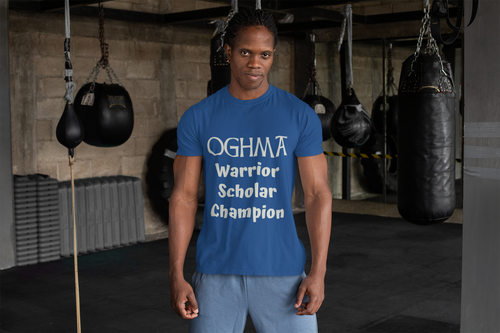Oghma. Warrior, Scholar, Champion - Black, True Royal, Kelly, Short-Sleeve Unisex T-Shirt