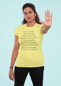 Peace to the Sky - Morrigan Prophesy - Short-Sleeve Unisex T-Shirt - Soft Cream, Silver, Yellow - Eel & Otter