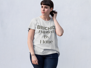Brighid - Purified by Flame - Yellow, Soft Cream & Ash - Unisex Short Sleeve Jersey T-Shirt - Eel & Otter