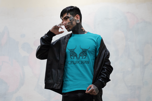 Bulls of Cruachan - Aqua, Gold & Leaf Green - Unisex Short Sleeve Jersey T-Shirt - Eel & Otter