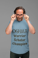 Load image into Gallery viewer, Oghma. Warrior, Scholar, Champion - Silver, Steel Blue, Leaf - Short-Sleeve Unisex T-Shirt - Eel & Otter