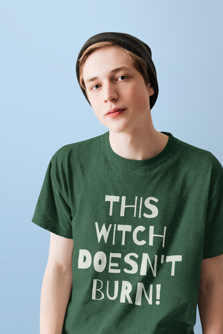 This Witch Doesnt  Burn! - Short-Sleeve Unisex T-Shirt - Black, Red, Forest - Eel & Otter