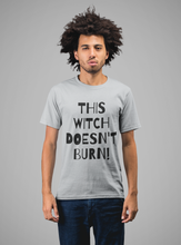 Load image into Gallery viewer, This Witch Doesn't Burn! - Short-Sleeve Unisex T-Shirt Silver, Pink, Steel Blue - Eel & Otter