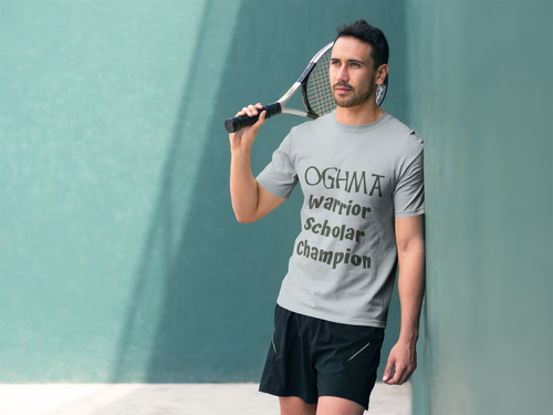 Oghma. Warrior, Scholar, Champion - Silver, Steel Blue, Leaf - Short-Sleeve Unisex T-Shirt