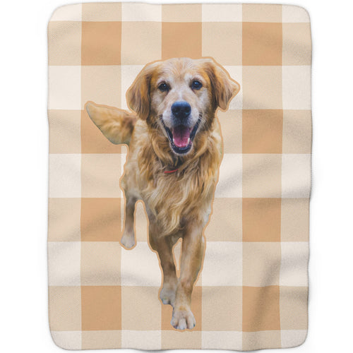 Beige Plaid - Custom Sherpa Fleece Blanket