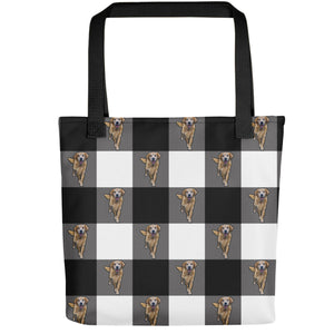 Black Plaid - Custom Pet Tote
