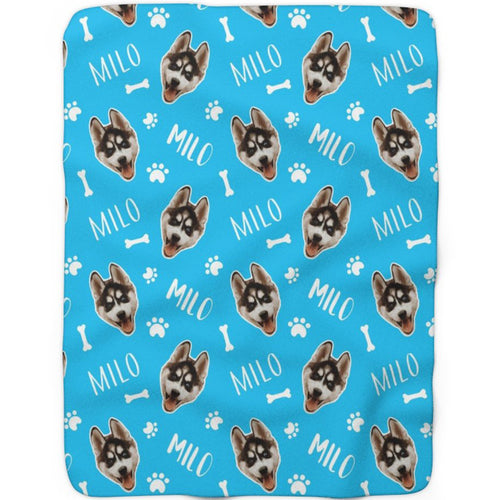 Blue  - Custom Pet Sherpa Fleece Blanket