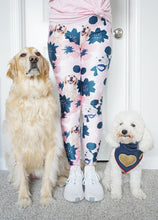 "Load image into Gallery viewer, ""Pink & Blue Flowers"" Custom Pet Yoga Leggings"