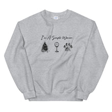 Load image into Gallery viewer, I'm A Simple Woman - Christmas, Wine, Paw Sweatshirt