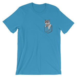 Custom Pet Pocket T-Shirt Ocean Blue