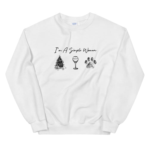 I'm A Simple Woman - Christmas, Wine, Paw Sweatshirt