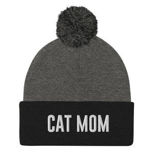 Cat Mom Pom-Pom Beanie