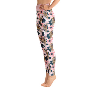 """Pink & Blue Flowers"" Custom Pet Yoga Leggings"