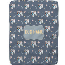 Load image into Gallery viewer, Paws and Bones - Custom Sherpa Fleece Blanket