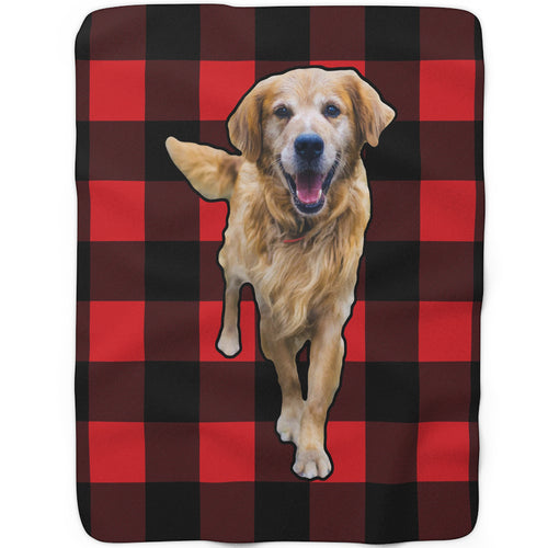 Red Plaid - Custom Sherpa Fleece Blanket