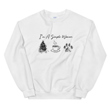 Load image into Gallery viewer, I'm A Simple Woman - Christmas, Coffee, Paw Sweatshirt