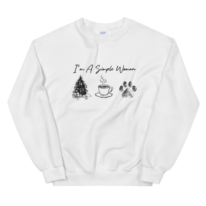 I'm A Simple Woman - Christmas, Coffee, Paw Sweatshirt