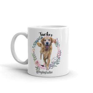 """Flower Wreath"" Custom Pet Mug"