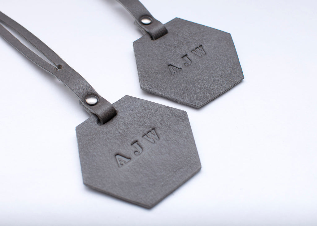 Luggage Tag - Hexagon - Set of 2 - Grey