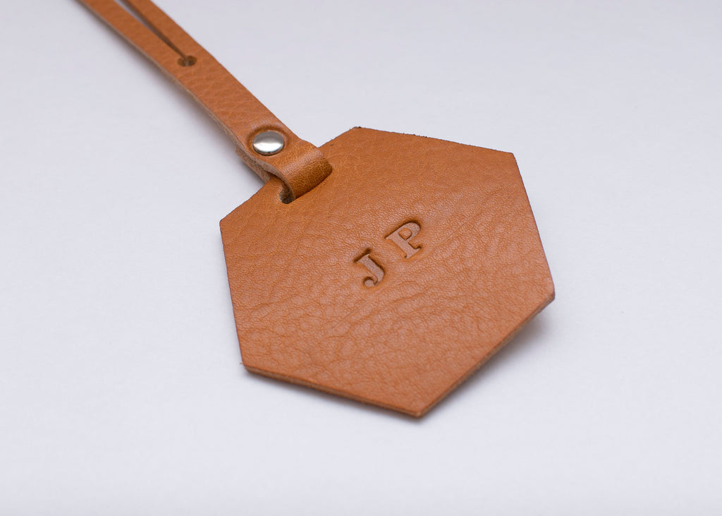 Luggage Tag - Hexagon - Tan