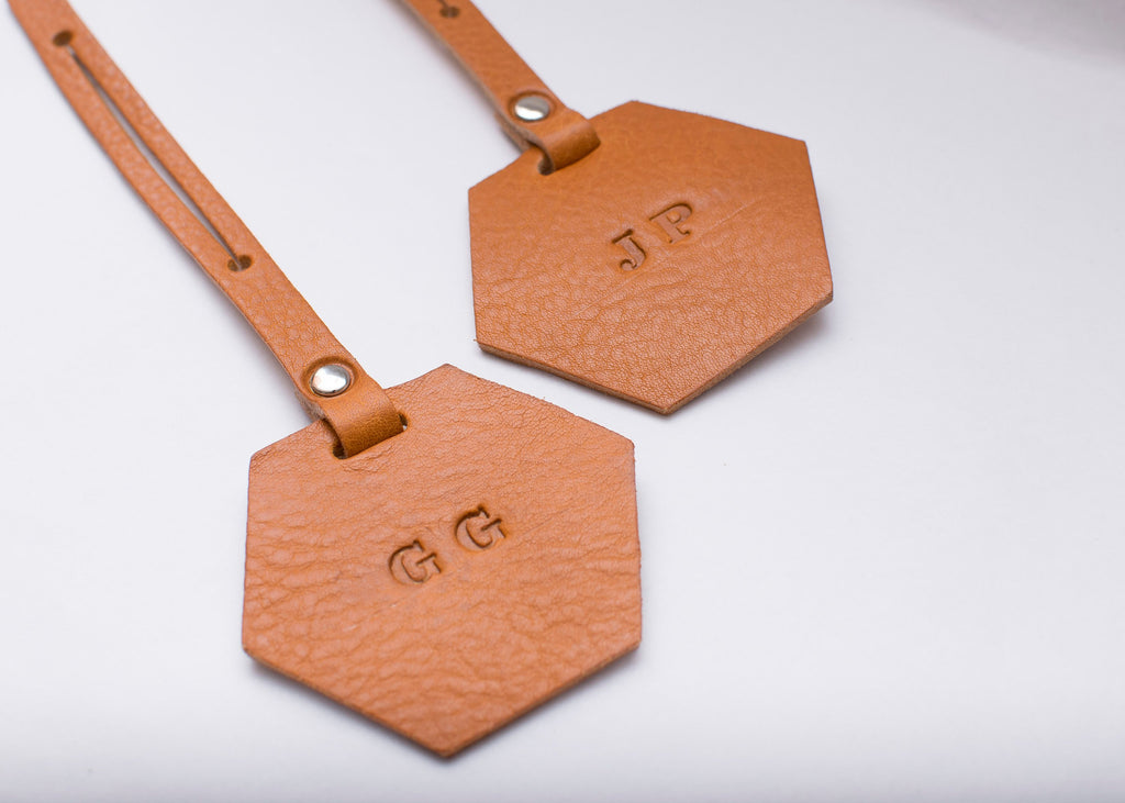 Luggage Tag - Hexagon- Set of 2 - Tan
