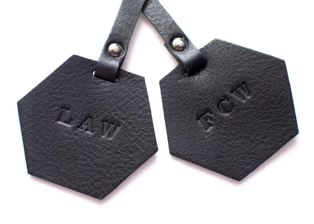Luggage Tag - Hexagon - Set of 2 - Black