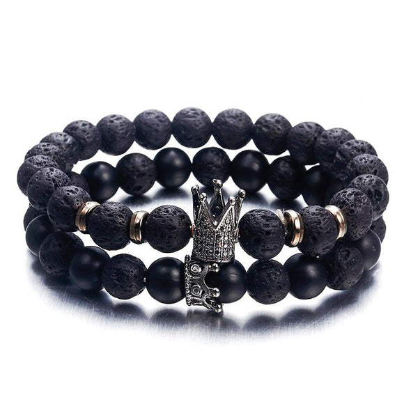 Mens Lava Stone Pave CZ Imperial Crown And Helmet Charm Bracelet