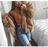 Plus Size Faux Fur Bomber Teddy Bear Jacket